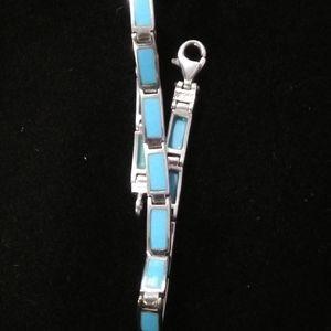 Peyote Bird Sterling turquoise tennis bracelet